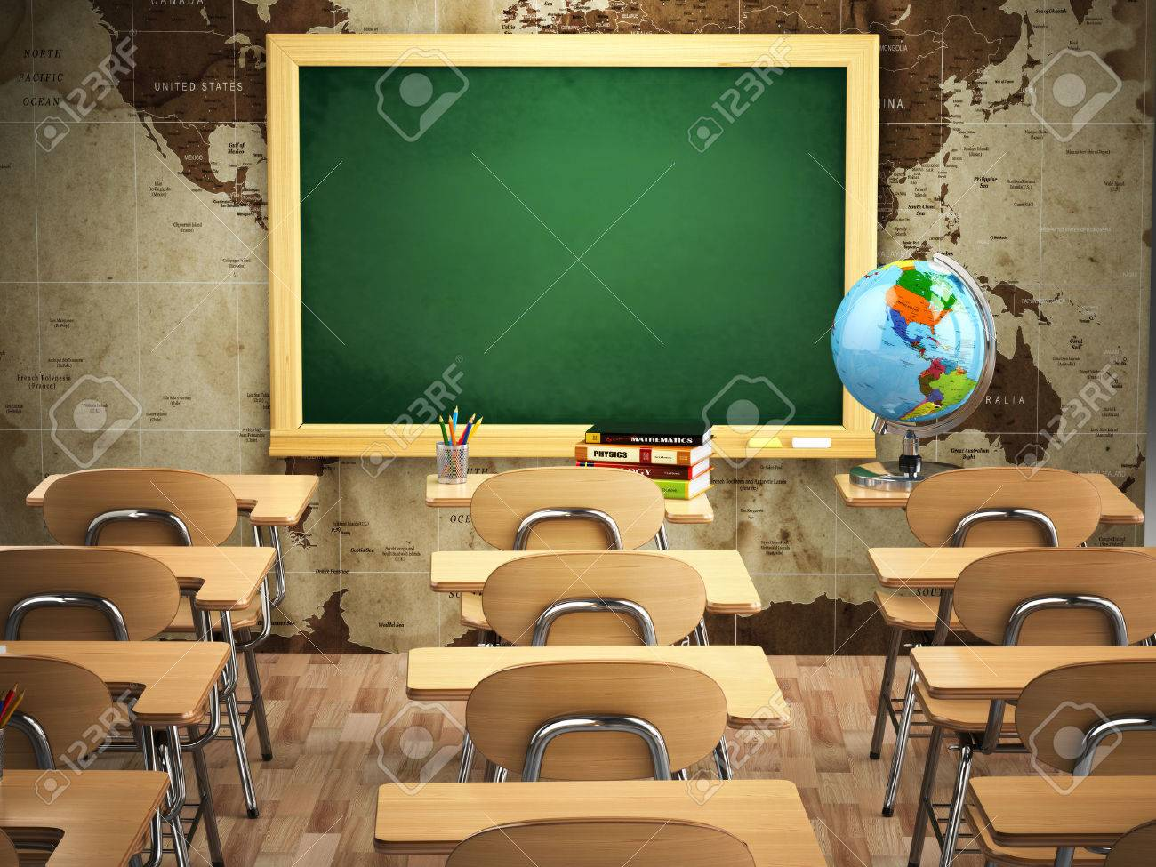empty classroom with school desks chairs and chalkboard 3d stock