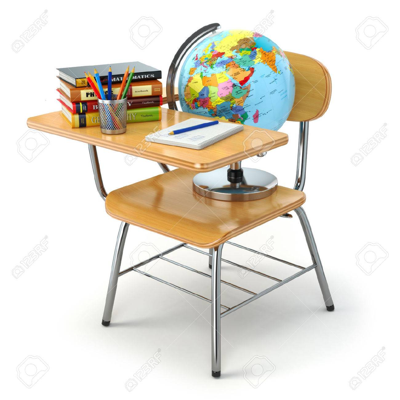 Incredible Wooden School Desk And Chair With Books Pencils And Globe Isolated Inzonedesignstudio Interior Chair Design Inzonedesignstudiocom