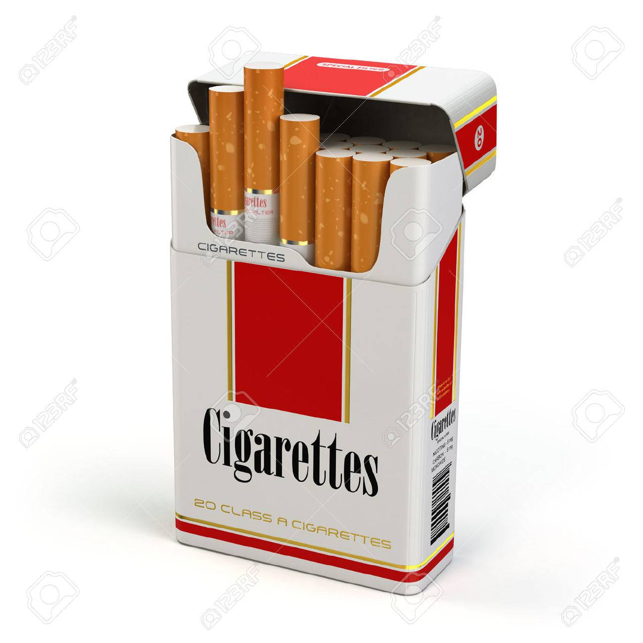 Cigarette pack on white isolated background. 3d - 50983588