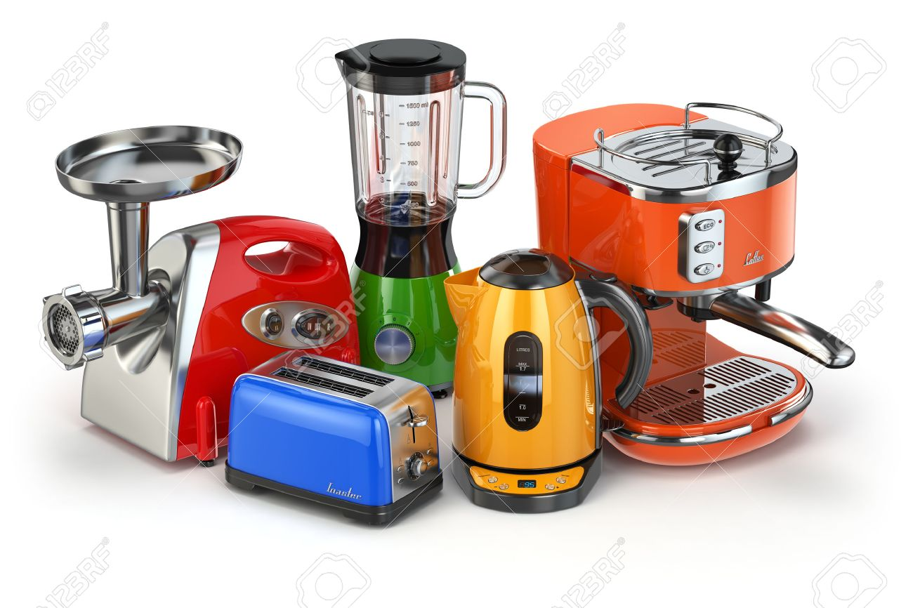 Kitchen Appliances. Blender, Toaster, Coffee Machine, Meat Ginder And  Kettle Isolated On