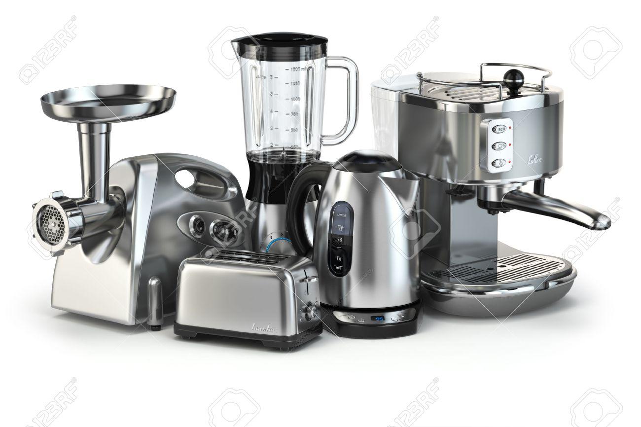 Archivio Fotografico   Elettrodomestici Da Cucina Metallici. Frullatore,  Tostapane, Macchina Per Il Caffè, Ginder Carne E Bollitore Isolati Su  Bianco. 3d