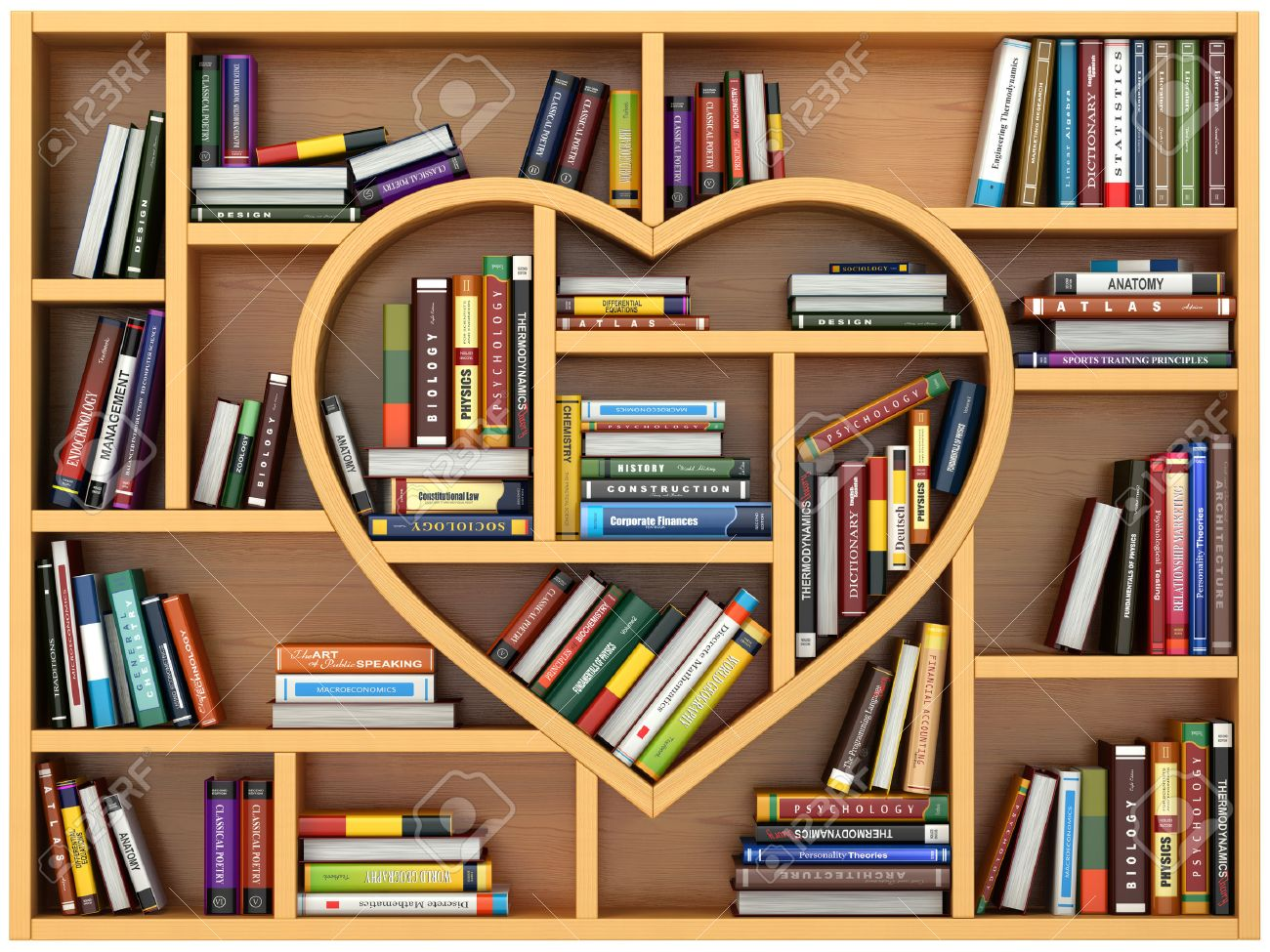 Bookshelf with books and textbooks in form of heart. I love reading & Bookshelf Stock Photos. Royalty Free Bookshelf Images