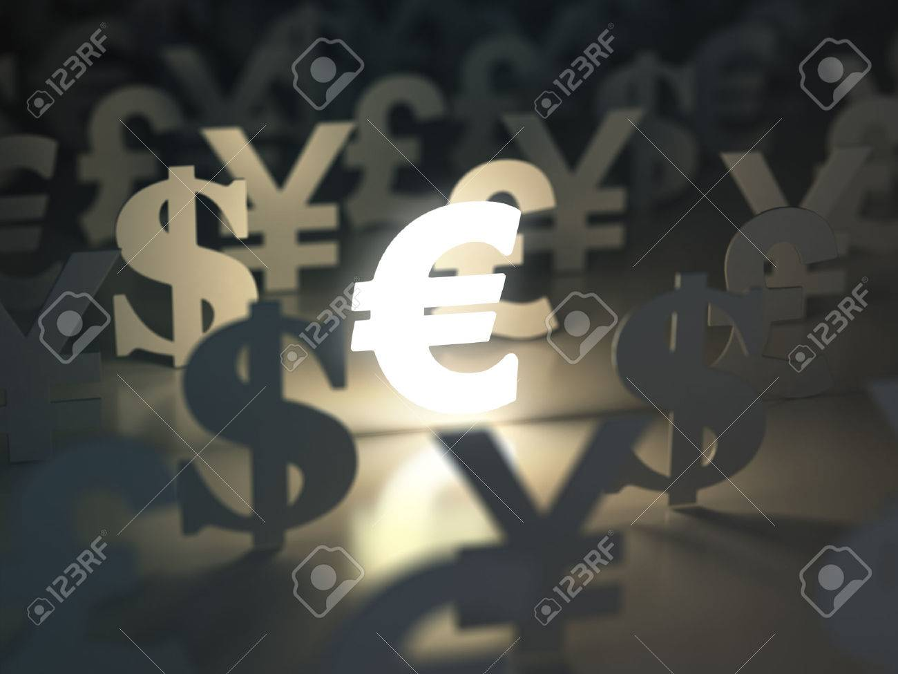Euro Dollar Livre Et Yen Signes Devise Notion D Echange 3d