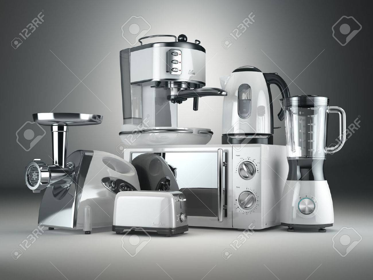 Immagini Stock - Elettrodomestici Da Cucina. Frullatore, Tostapane ...