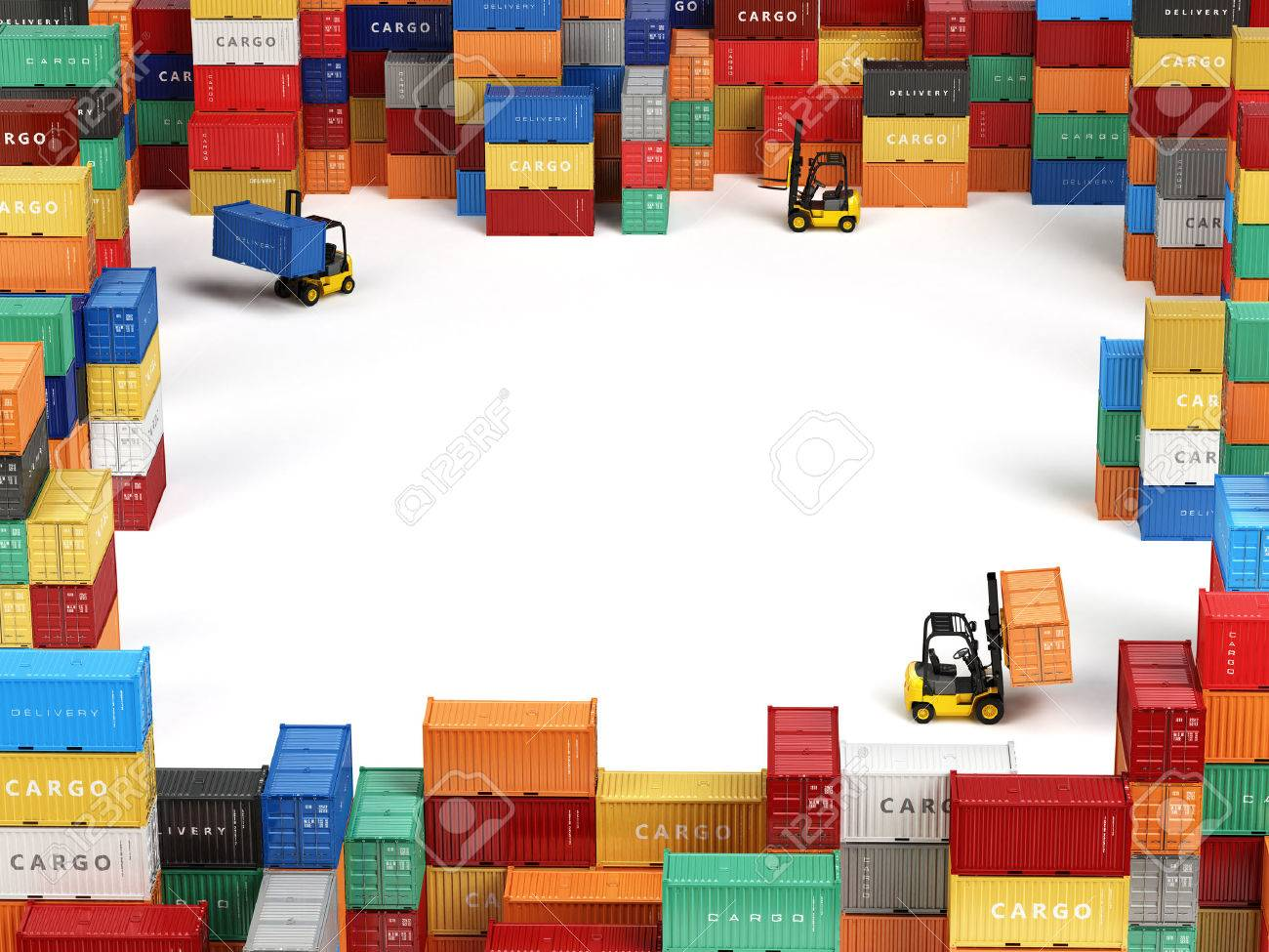 Cargo shipping containers in storage area with forklifts and space for text. Delivery transportation concept. 3d - 53733164