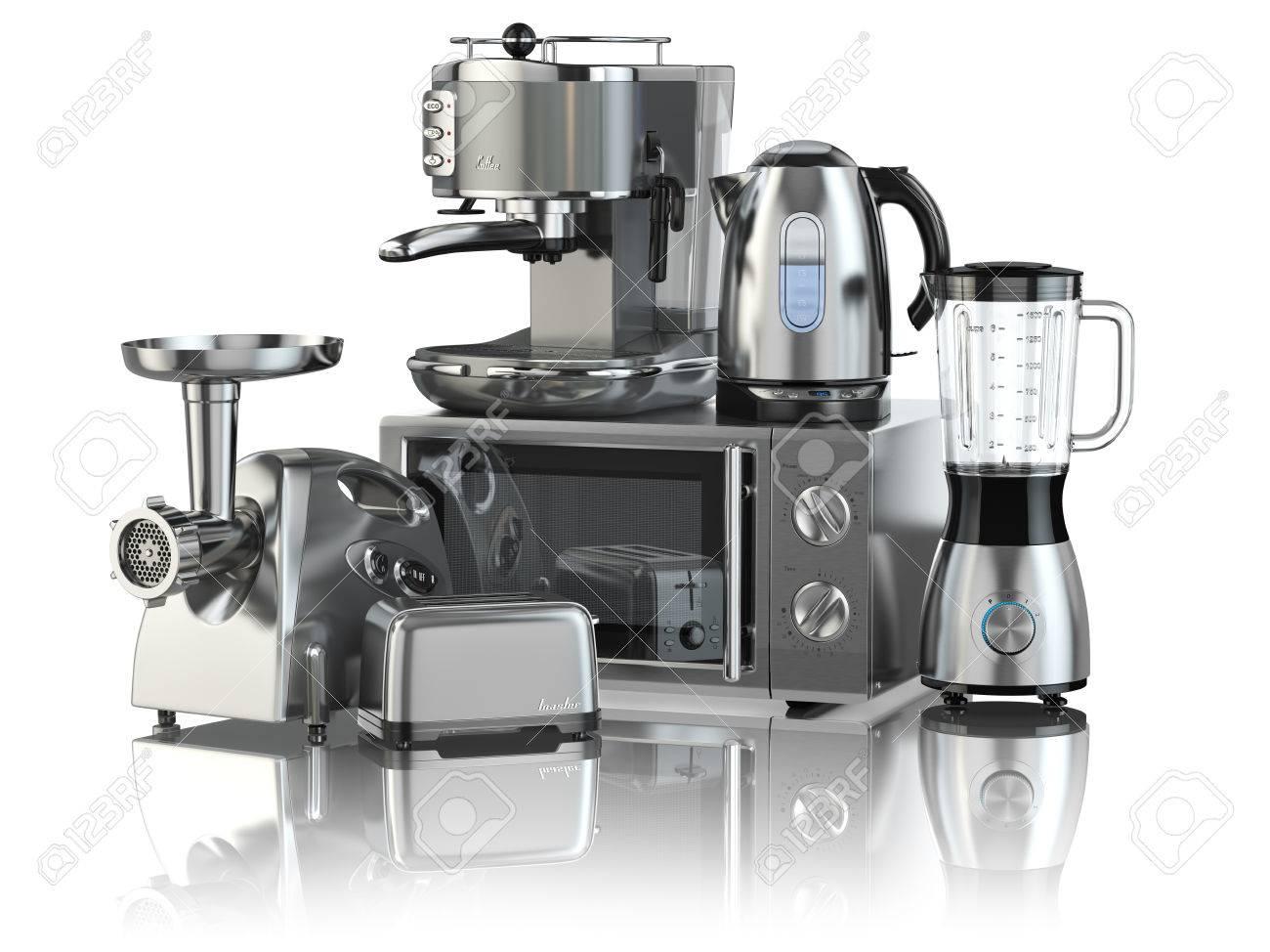 Elettrodomestici da cucina. Frullatore, tostapane, macchina per il caffè,  Ginder carne, forno a microonde e bollitore isolati su bianco. 3d