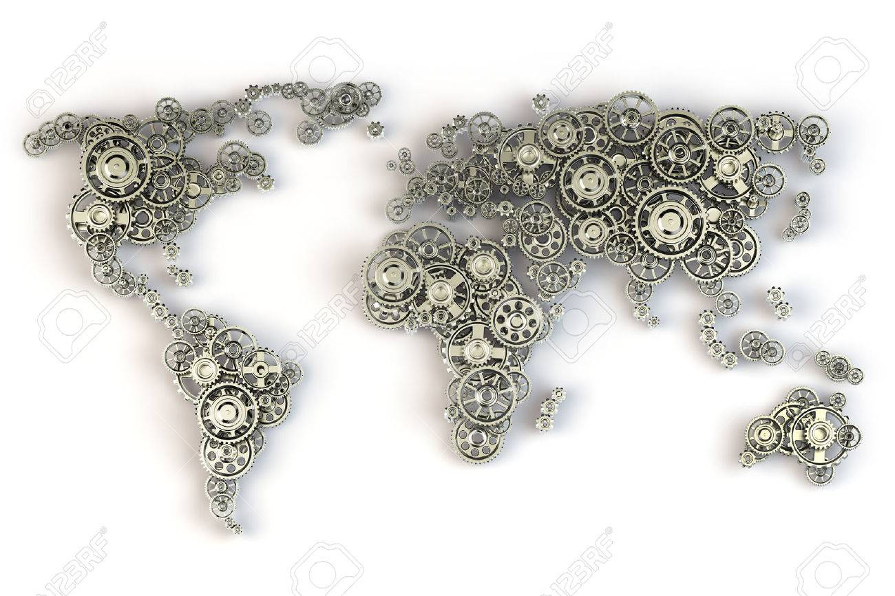 map of the world from gears global economy connections and international business concept 3d