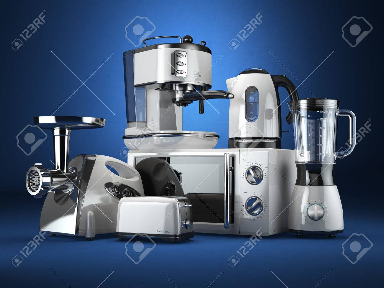 Kitchen appliances. Blender, toaster, coffee machine, meat ginder, microwave oven and kettle. 3d - 54266964