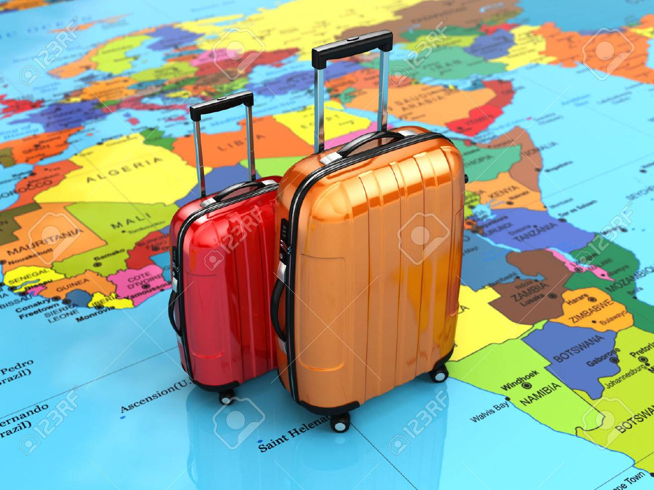 Travel or tourism concept. Luggage on the world map. 3d - 55008765