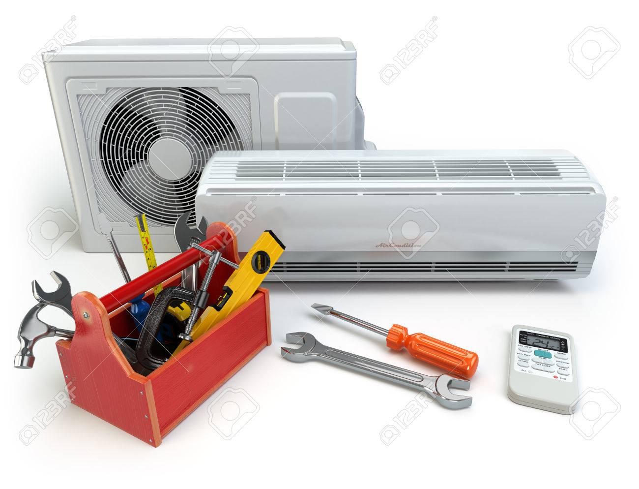 Air conditioner with toolbox and tools. Repair of air-conditioner concept. 3d - 55369619