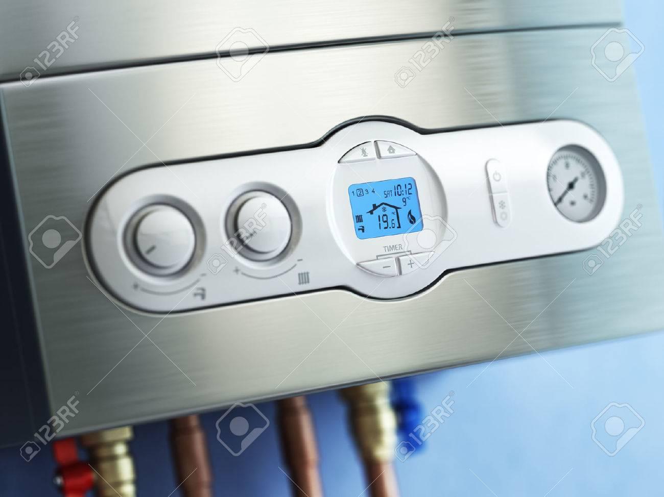 Gas Boiler Control Panel. Gas Boiler Home Heating. 3d Stock Photo ...