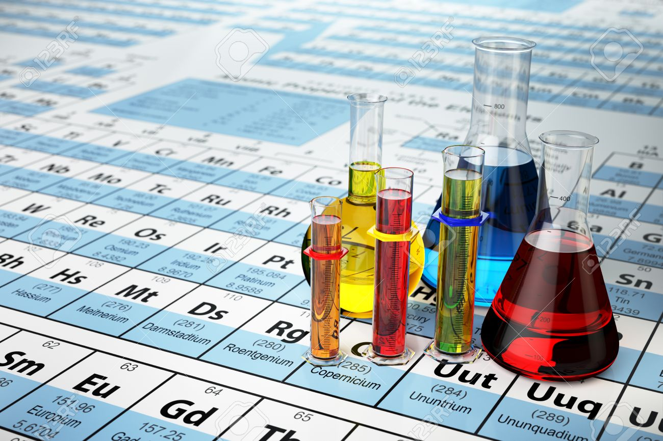 Science chemistry concept laboratory test tubes and flasks with laboratory test tubes and flasks with colored liquids on the periodic table urtaz Image collections