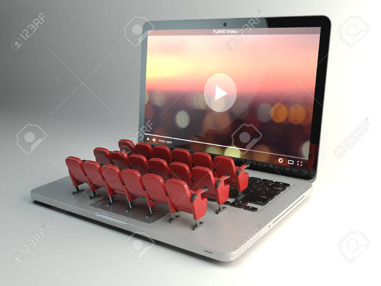 Video player app or home cinema concept. Laptop and rows of cinema seats, 3d illustration - 56606798
