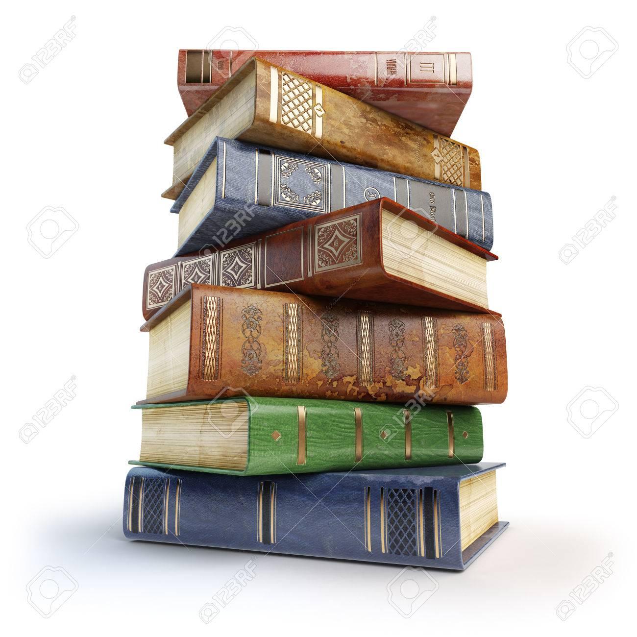 Libros Viejos Pila De Libros Antiguos Aislados En Blanco 3d