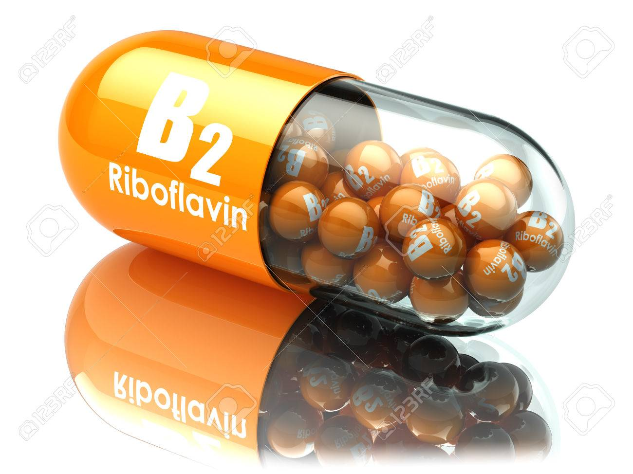 Vitamin B2 capsule. Pill with riboflavin. Dietary supplements. 3d illustration - 59994563