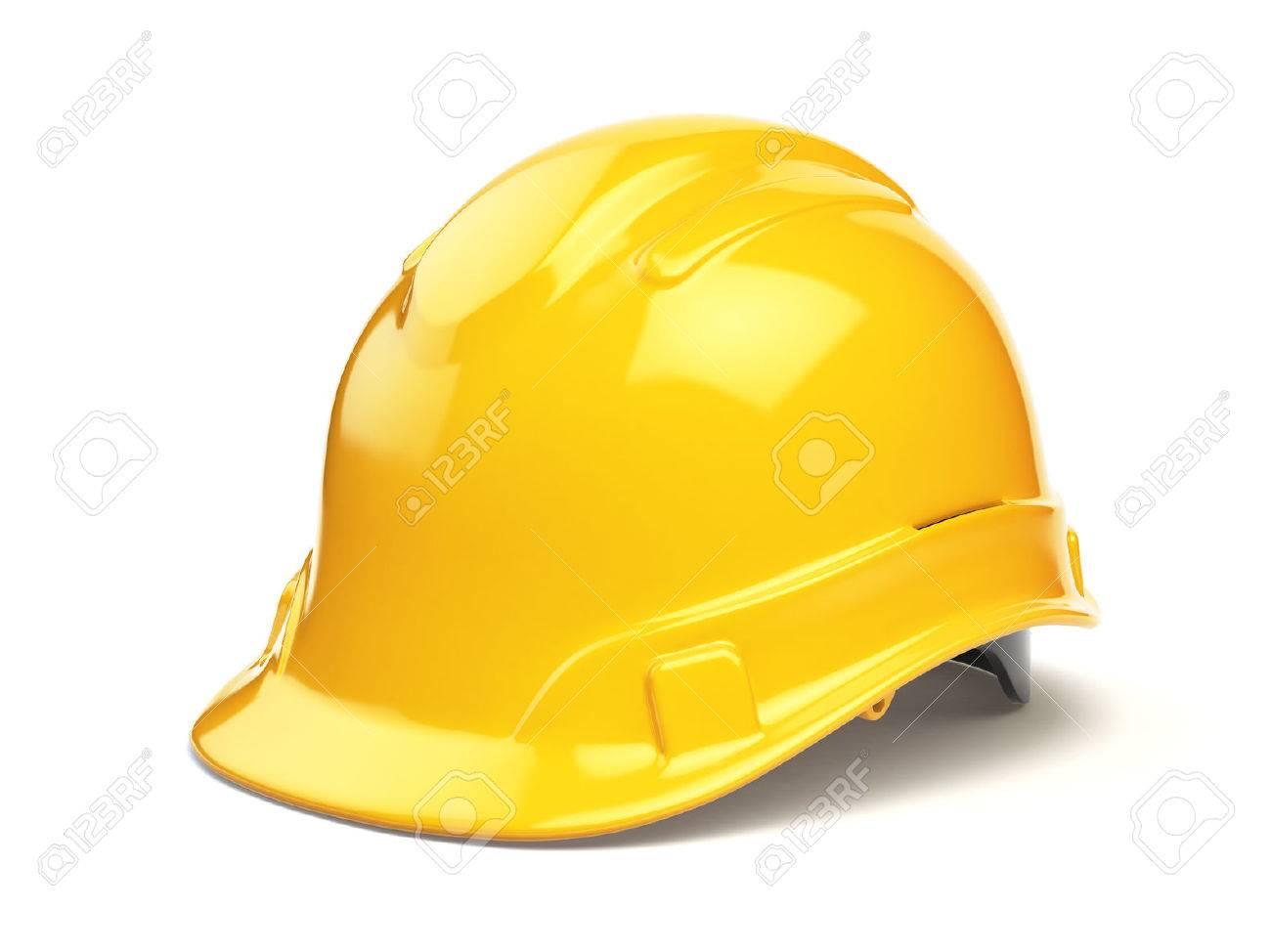 Yellow hard hat, safety helmet isolated on white. 3d illustration - 64134003
