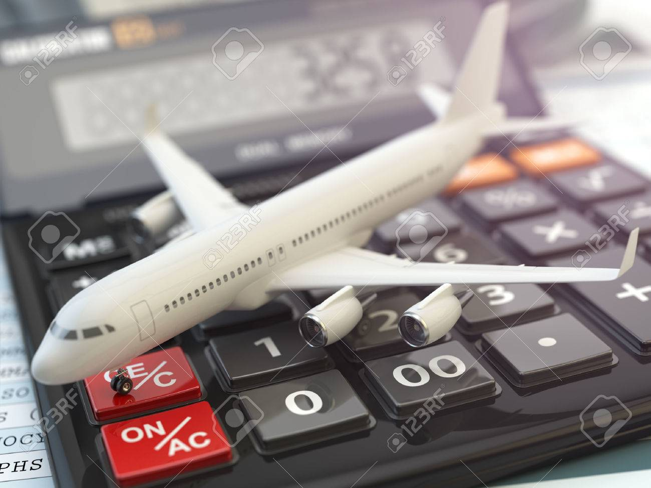 travel cost calculation concept airplane and calculator cheapest