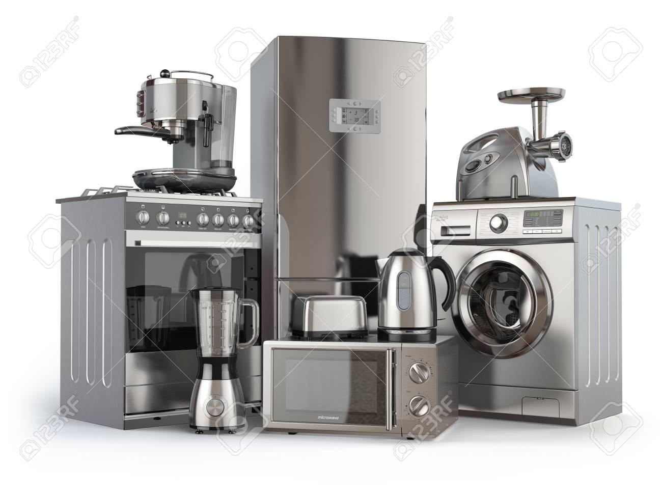 Immagini Stock - Elettrodomestici. Cucina A Gas, Frigorifero, Forno ...