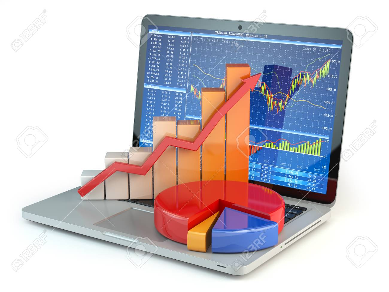 Stock Market Online Business Concept Graph And Diagram On Laptop