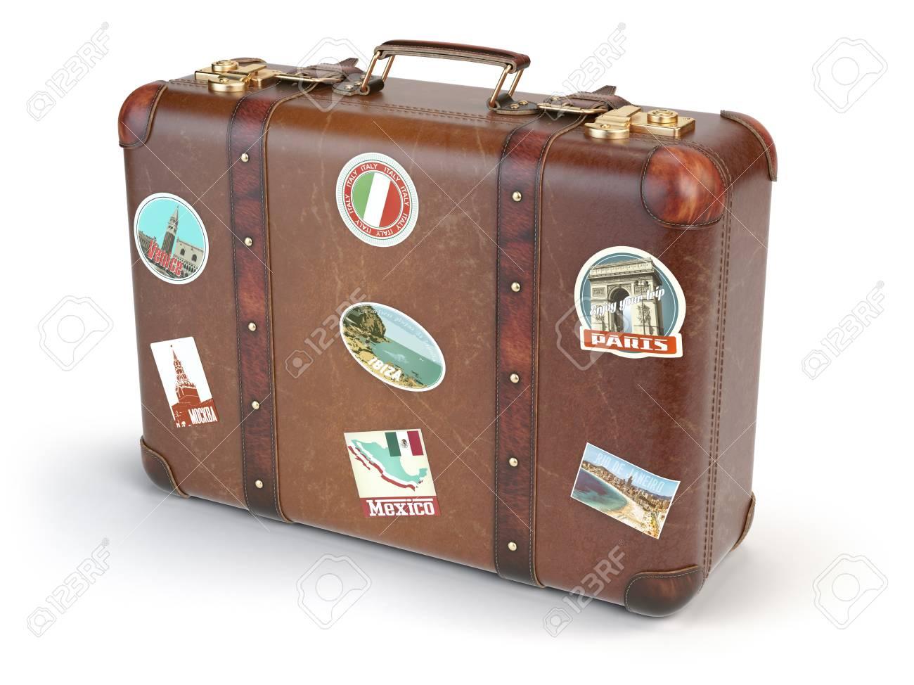 Verrassend Retro Koffer Beggage Mit Reise-Aufkleber Auf Weißem Hintergrund FH-21