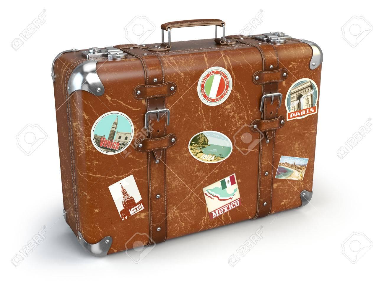 Goede Retro Koffer Beggage Mit Reise-Aufkleber Auf Weißem Hintergrund PU-13