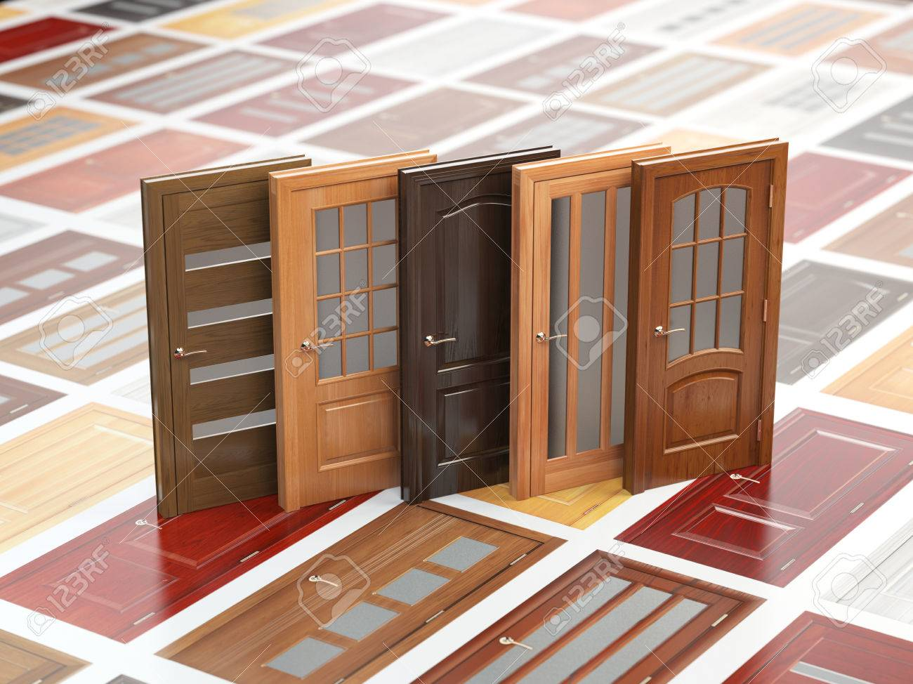 Different wooden doors on catalog with samples interior design and construction concept 3d illustration