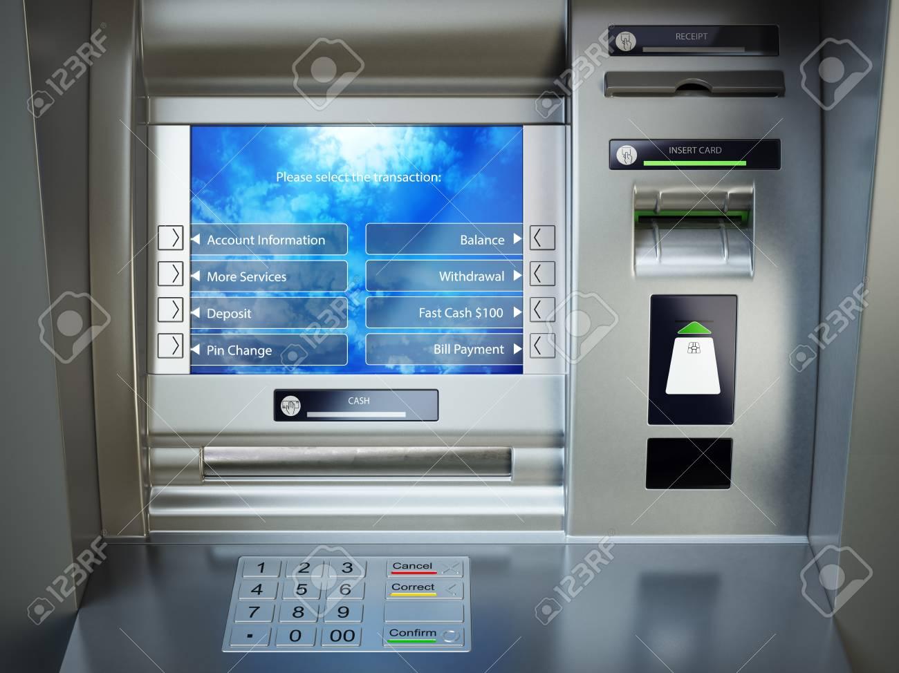 ATM Machine. Automated Teller Bank Cash Machine. 3d Illustration ...