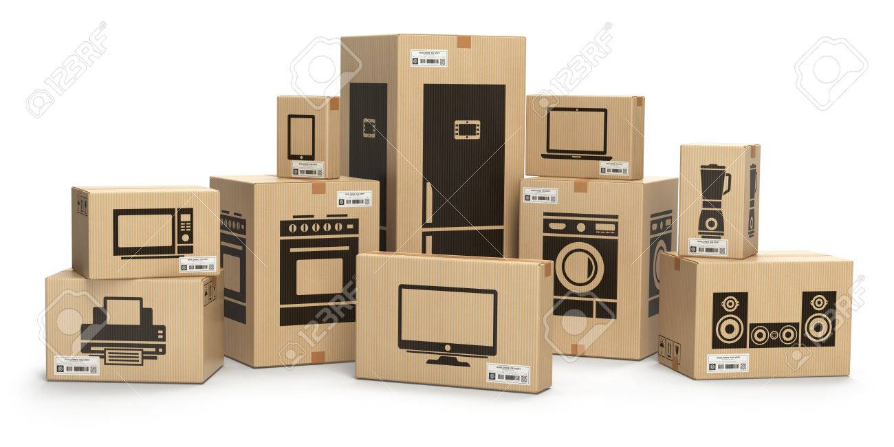 Household Kitchen Appliances And Home Electronics In Boxes Isolated ...