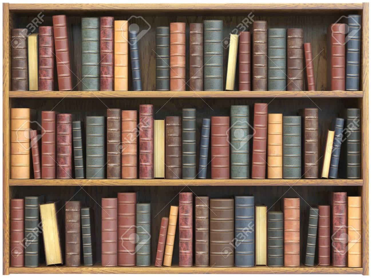 Boekenplank Met Boeken.Vintage Boeken Op Boekenplank Geisoleerd Op Een Witte Achtergrond