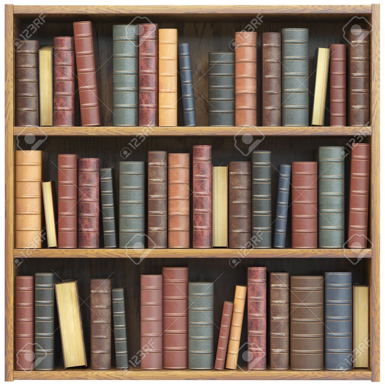 Bookshelf With Old Books Isolated On White Background Education