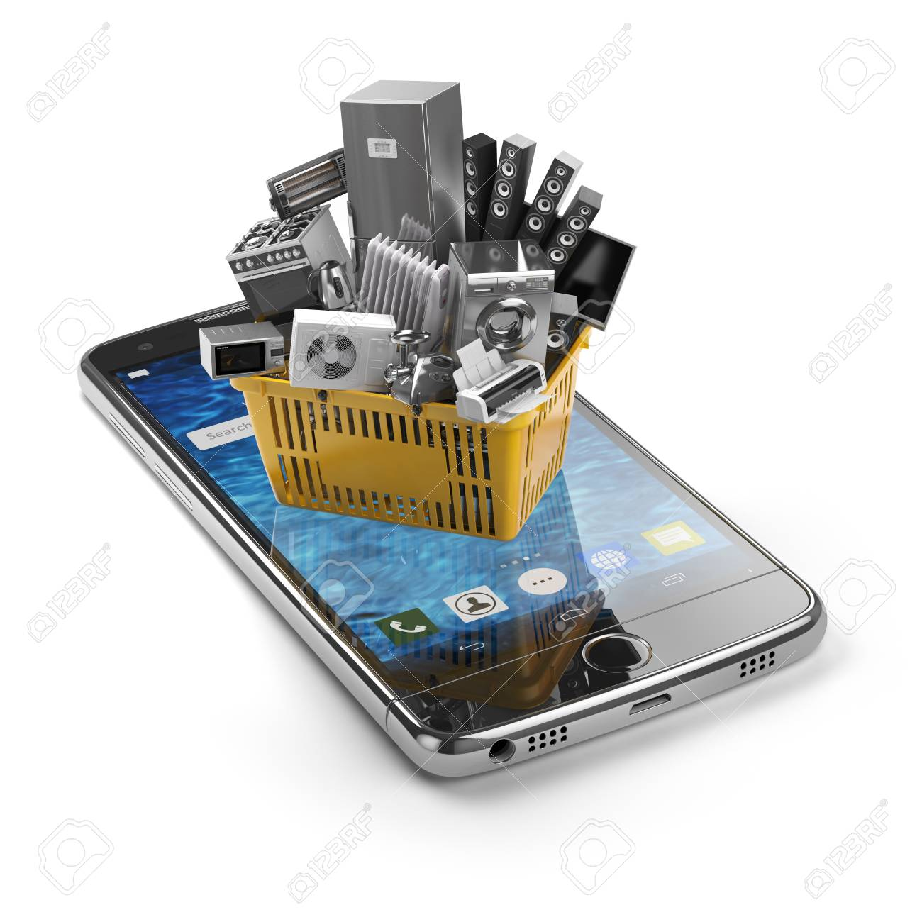 Mobile Phone And Shopping Basket With Home Kitchen Appliances ...