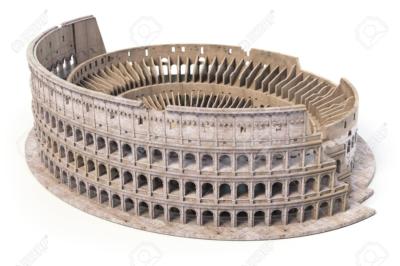 Coliseum, Colosseum isolated on white. Model of architectural and historic symbol of Rome and Italy, 3d illustration - 108819364