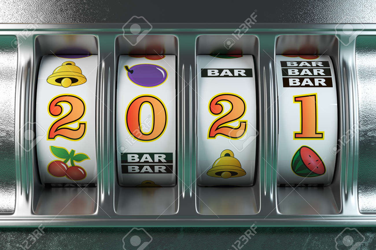 2021 Happy New Year in casino. Slot machine with jackpot number 2021.3d illustration - 157359543