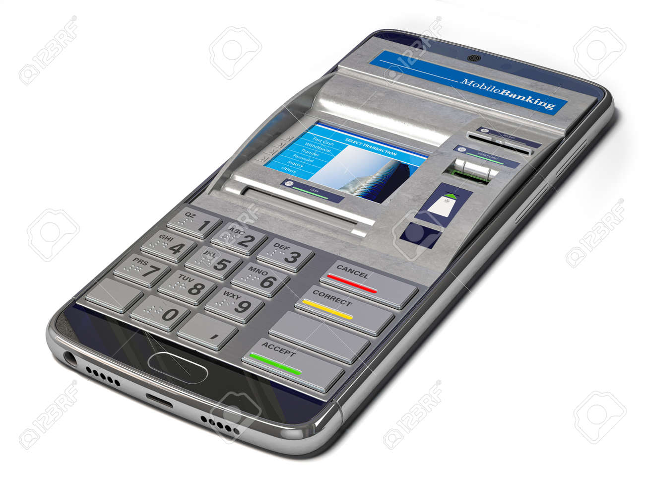 Mobile banking, online payments and digital financial services concept. Smartphone with ATM on screen. 3d illustration - 158690759
