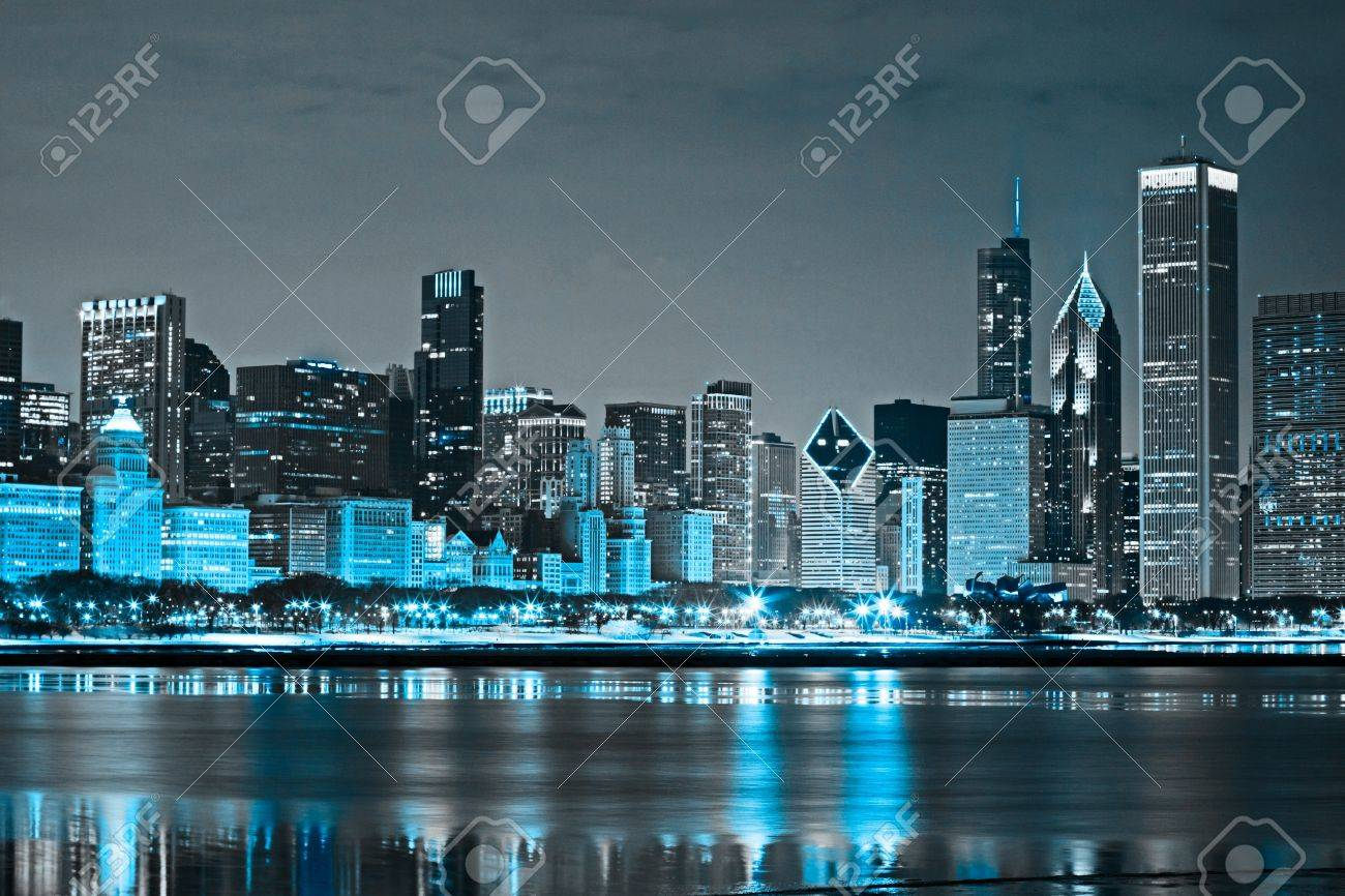 Dark Clouds on Finance District at Night Stock Photo - 10985129
