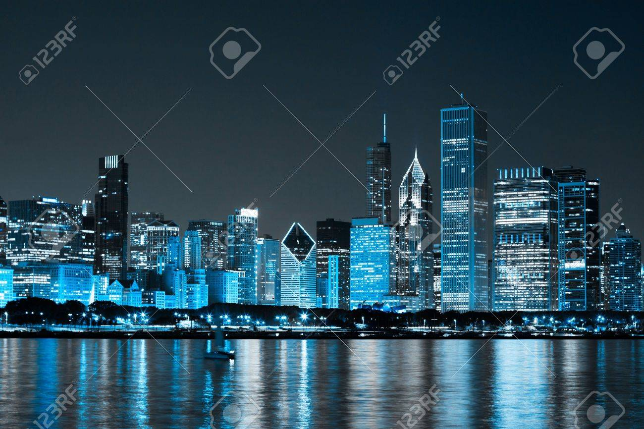 Finance District at Night Stock Photo - 11956316