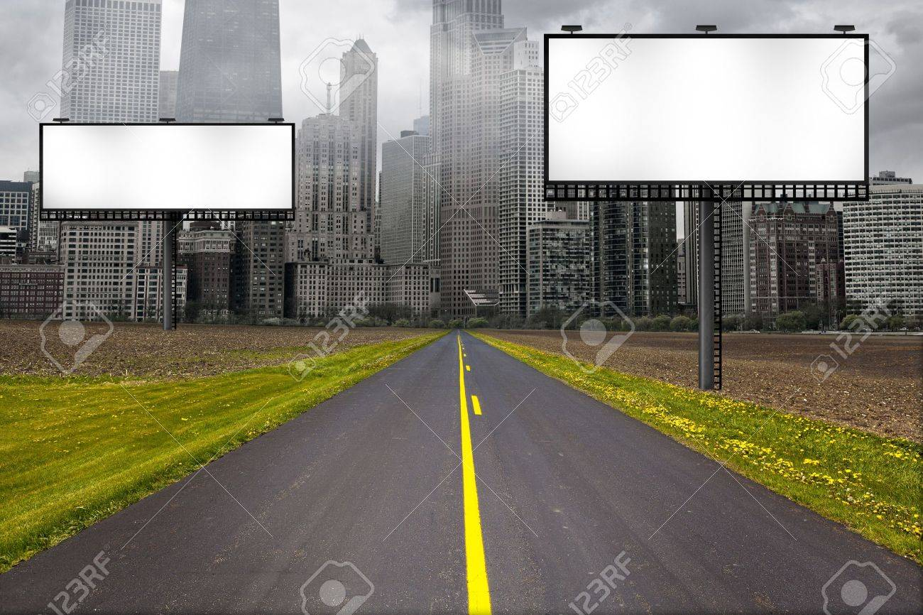 Country Road with Billboard Stock Photo - 13832056