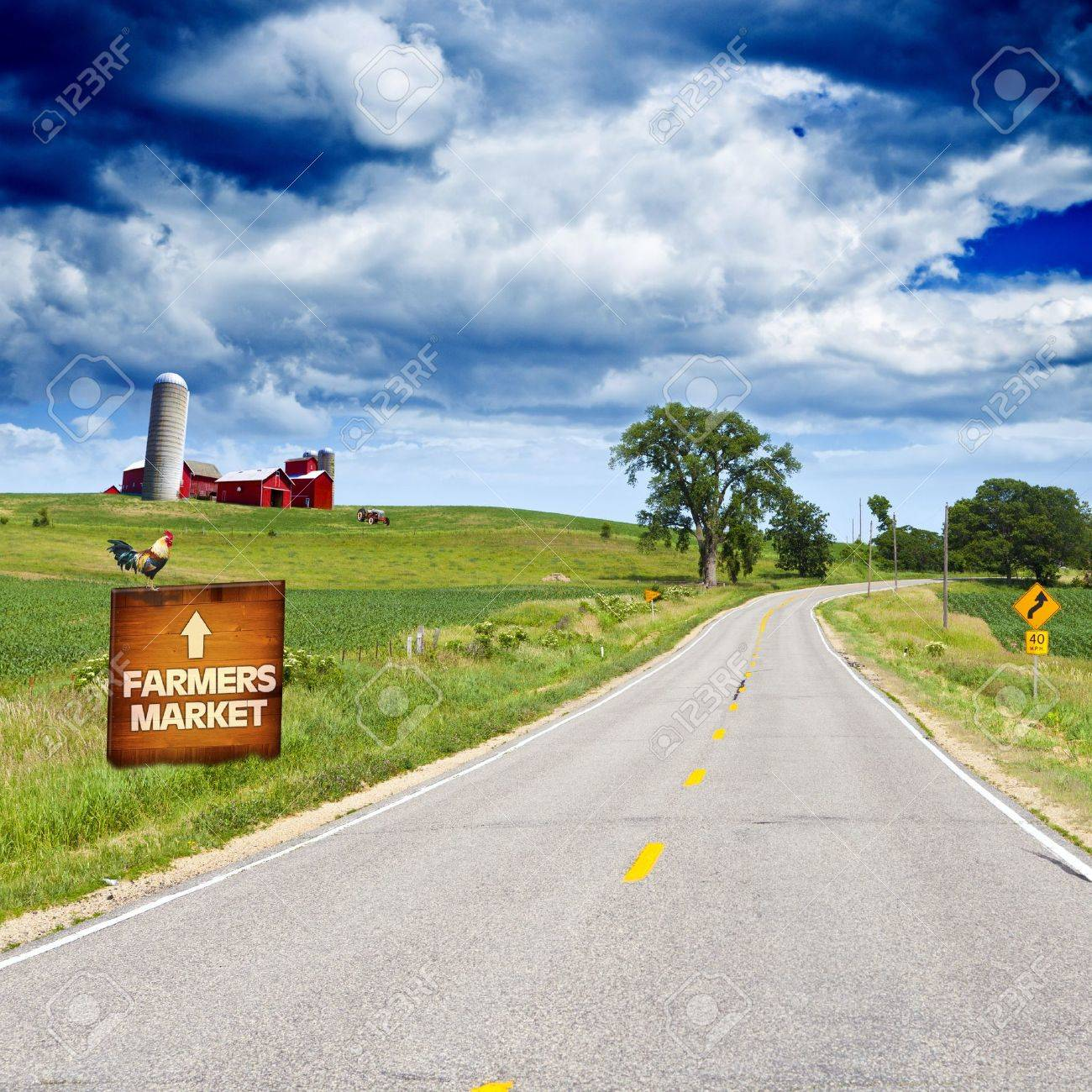 American Country Road With Blue Sky Stock Photo - 14246980