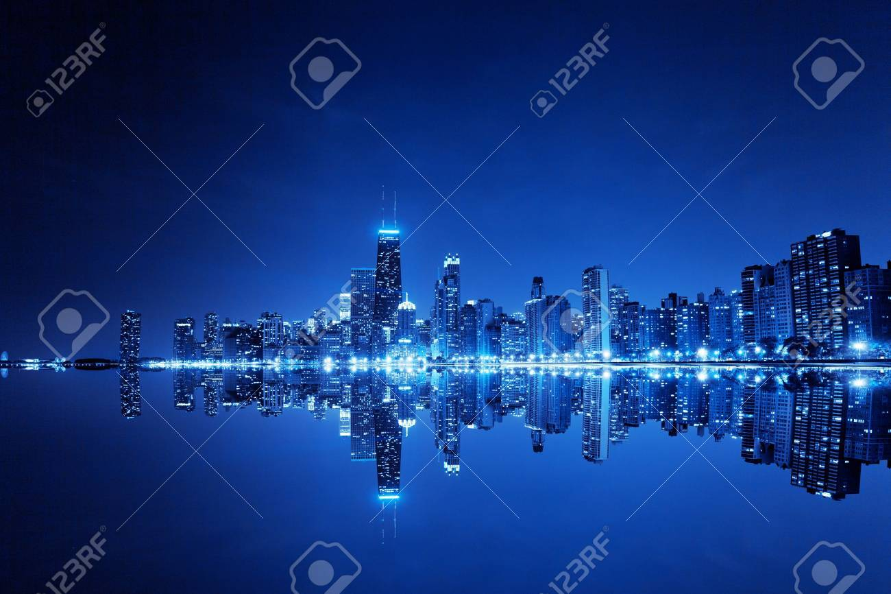 financial district (night view Chicago) - 15863671