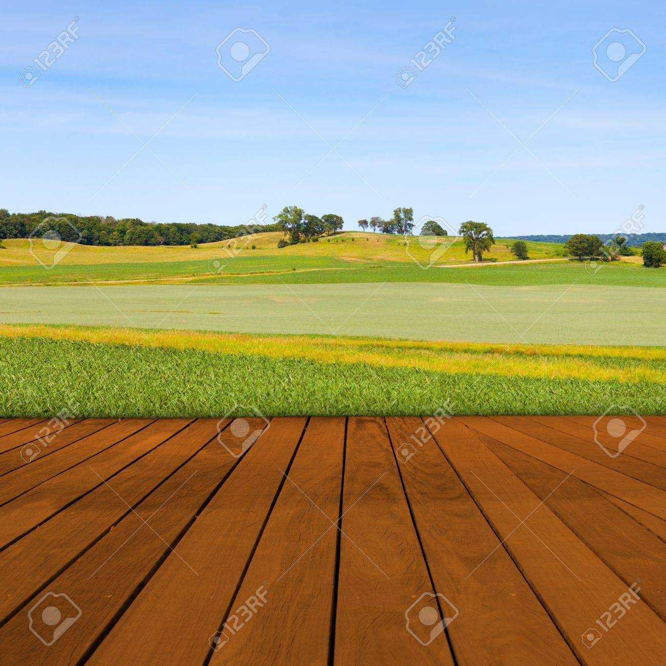 Old Table Surface With Blurred Countryside Landscape Stock Photo - 18487671