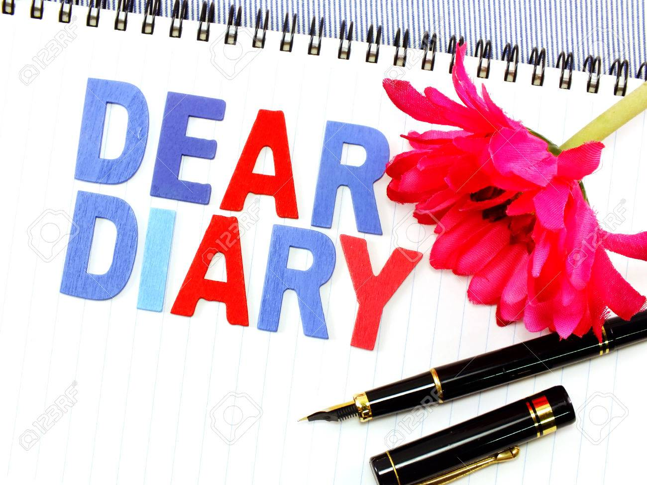Dear Diary Word On White Paper Notebook Concept Background – Notebook Paper Background for Word