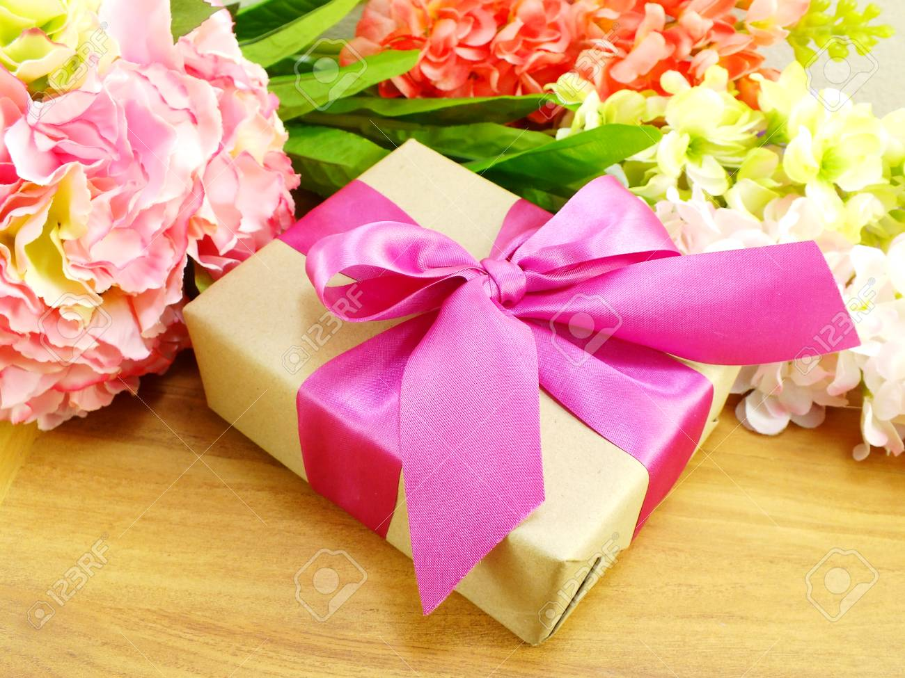 Gifts And Beautiful Bouquet Of Flowers For Mom For Mother Day ...