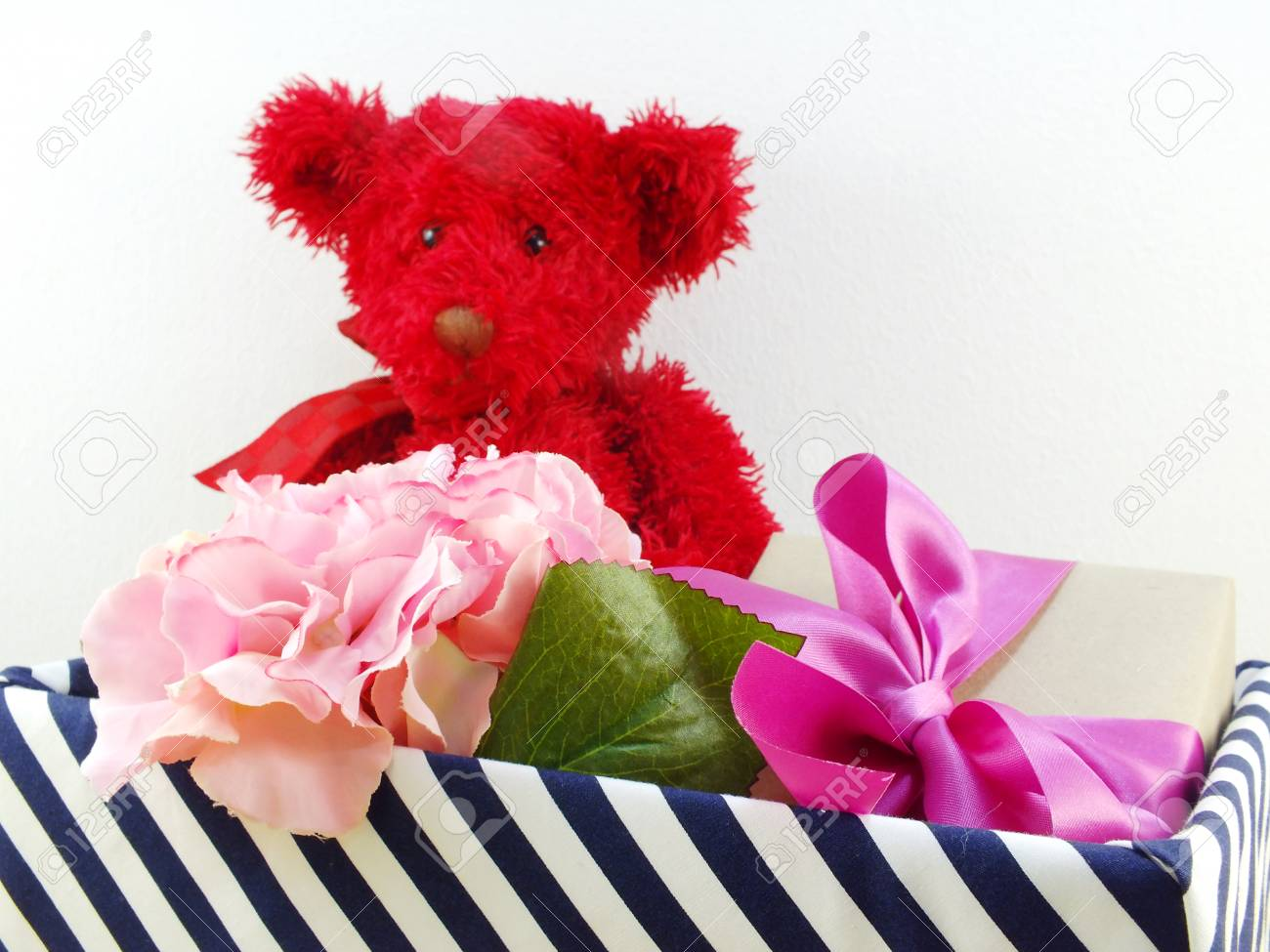 Gifts And Beautiful Bouquet Of Flowers With Red Teddy Bear For ...