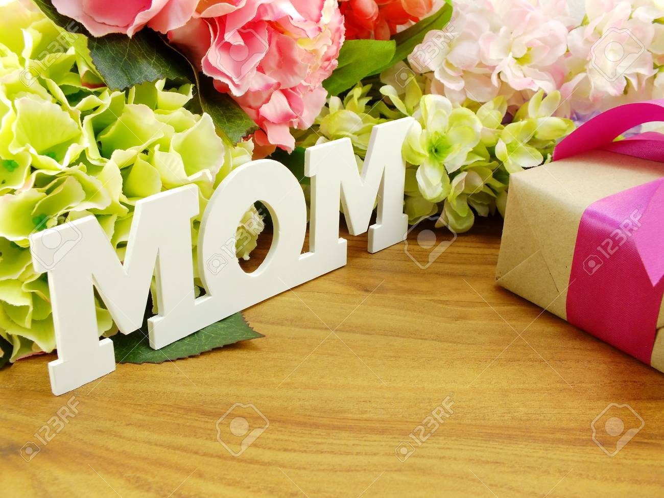 Gifts and beautiful bouquet of flowers for mom for mother day gifts and beautiful bouquet of flowers for mom for mother day or birthday stock photo izmirmasajfo