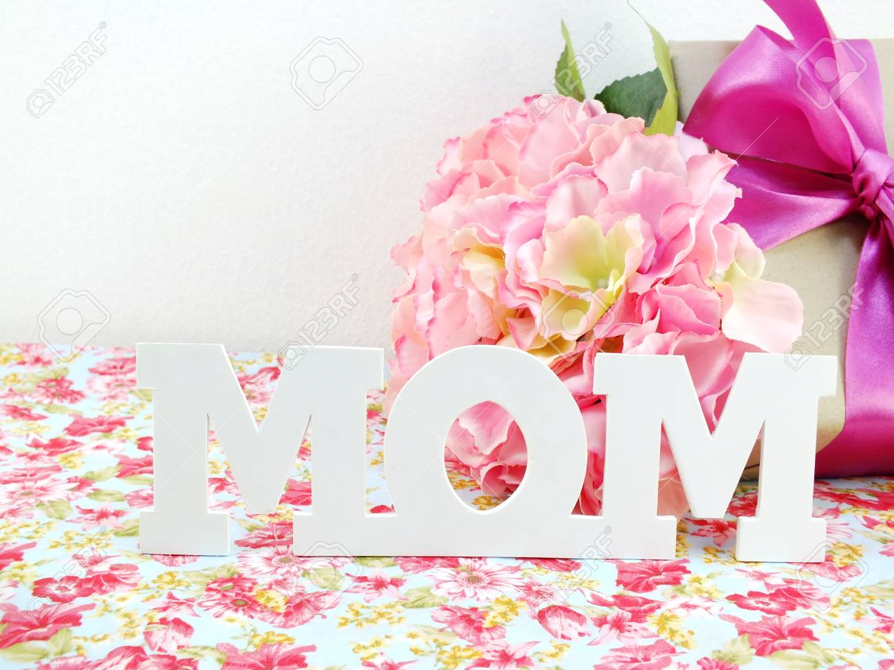 Gifts And Beautiful Bouquet Of Flowers For Mom For Mother Day Stock Photo Picture And Royalty Free Image Image 55254471