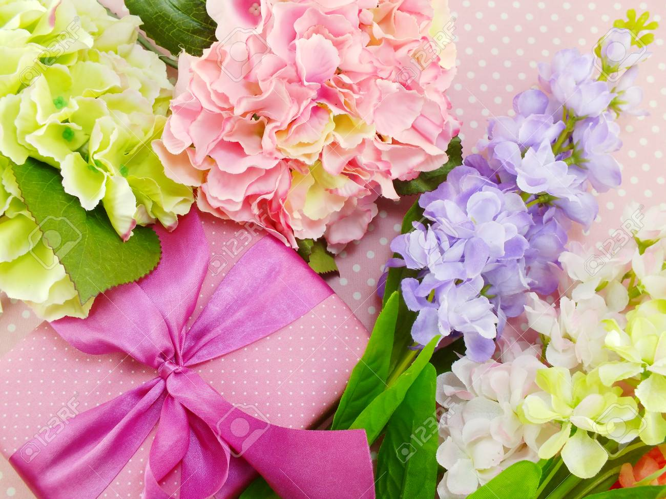 Gifts And Beautiful Bouquet Of Flowers For Mother Day Birthday