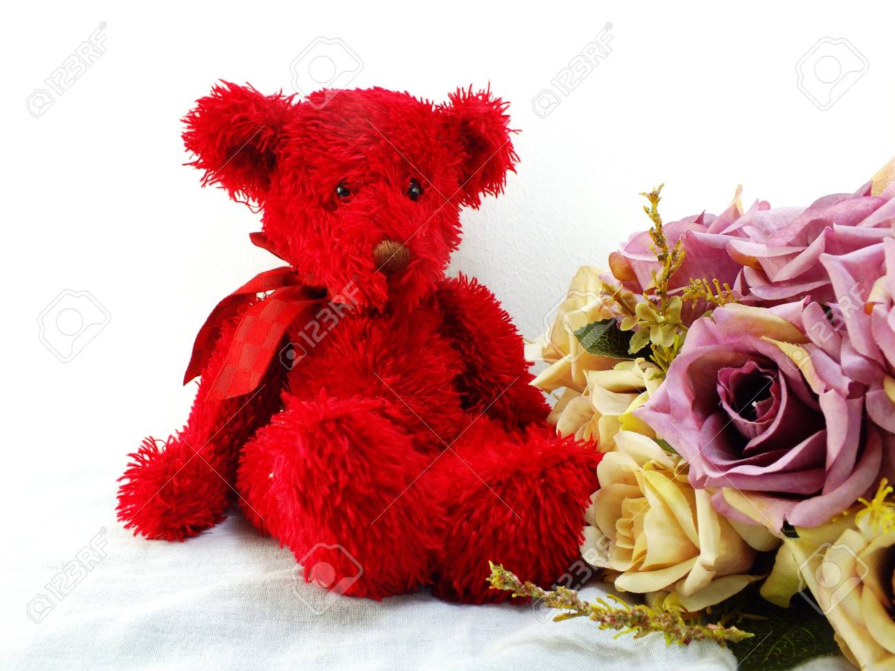Red Teddy Bear And Roses Artificial Flower Bouquet Stock Photo ...