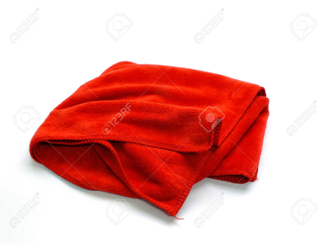 2e8d8ad00defd9 red microfiber cloth on a white background Stock Photo - 95985507