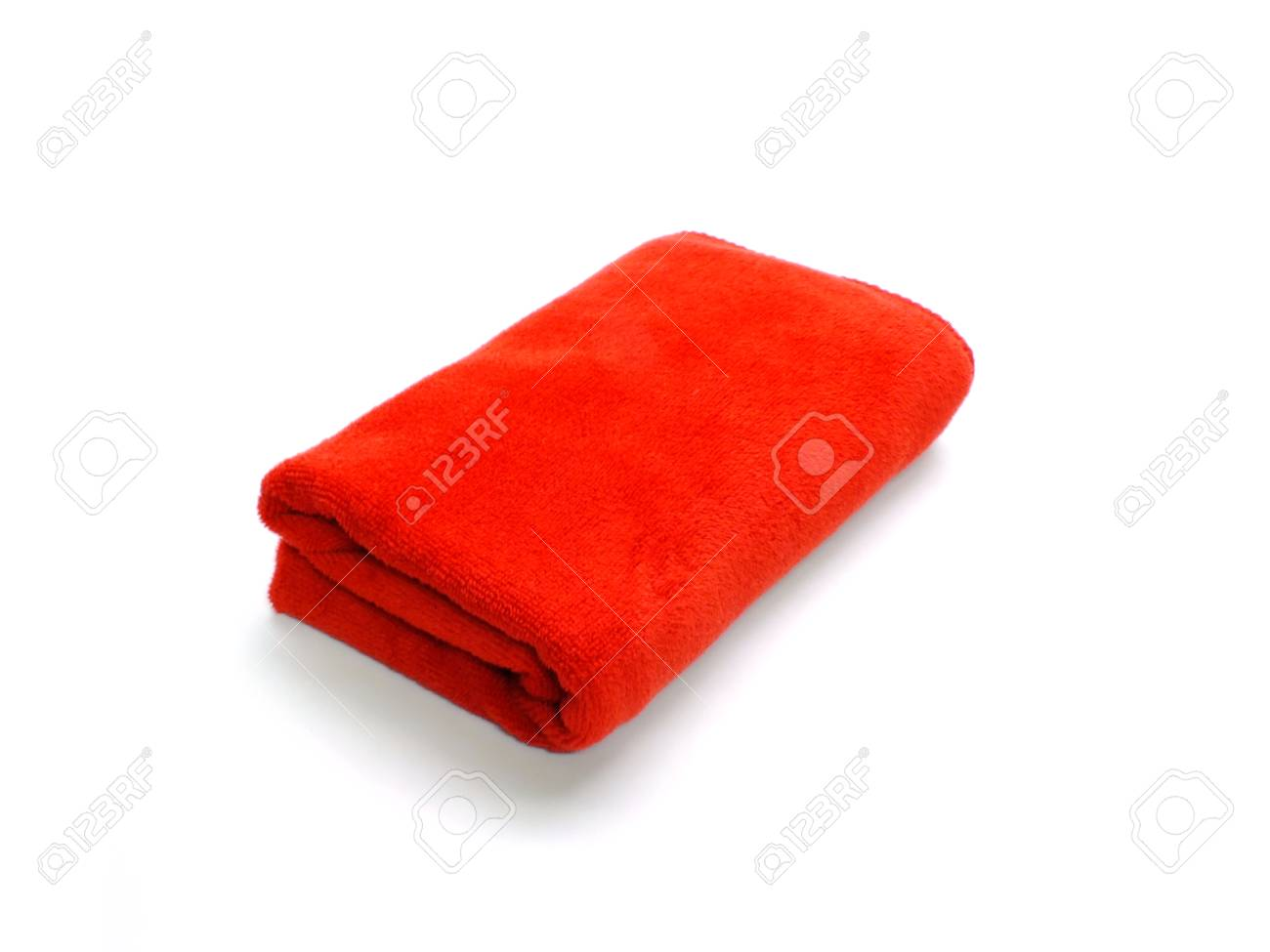 46c7cdce68bbb9 red microfiber cloth on a white background Stock Photo - 95985595