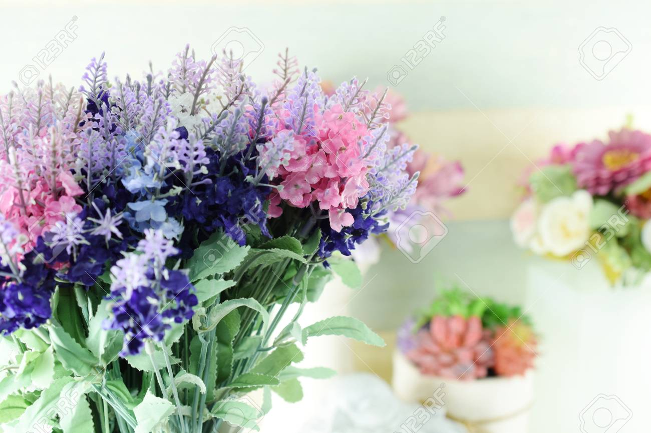 Beautiful Of Lavender Artificial Flower Bouquet Home Decoration Stock Photo Picture And Royalty Free Image Image 97423177
